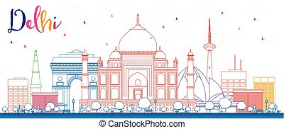 Outline Delhi Skyline with Color Buildings.