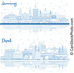 Outline Depok and Semarang Indonesia City Skylines with Blue Buildings and Reflections.