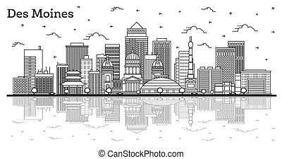 Outline Des Moines Iowa City Skyline with Modern Buildings ...