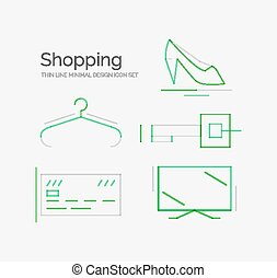 Outline design shopping icon set