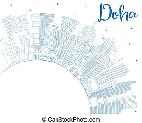 Outline Doha Qatar City Skyline with Blue Buildings and Copy...
