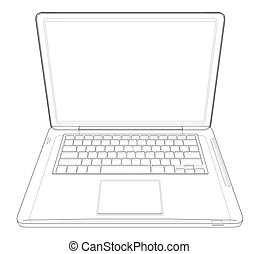 Outline drawing laptop. Vector illustration