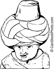 Outline drawing of 18th century Arab doll
