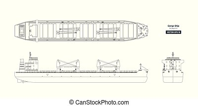 Outline drawing of cargo ship on a white background. Top, side and front view of tanker. Container boat blueprint. Vector illustration