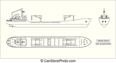 Outline drawing of cargo ship on white background