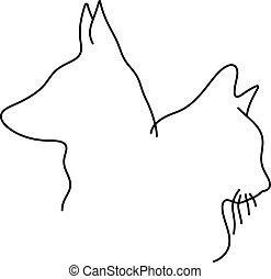 outline drawing of cat and dog head minimalist vector illustration sketch hand drawn with black lines isolated on white background