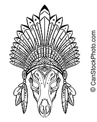 Outline drawing of deer skull with native cap of Indian with feathers and decorations. Tribal costume.