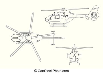 Outline drawing of helicopter on white background. Top, side, front view. Technical blueprint. Vector illustration