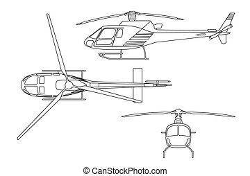 Outline drawing of helicopter on white background. Top view,...