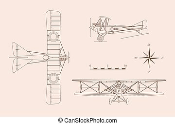 Outline drawing of military retro airplane on a white background. Vintage aircraft in three views: top, side, front