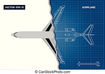 Outline drawing of plane on a blue background