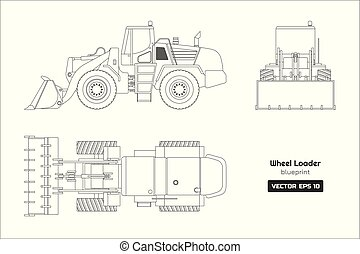Outline drawing of wheel loader on white background. Top, side and front view. Diesel digger blueprint. Hydraulic machinery image. Industrial document of bulldozer. Vector isolated illustration
