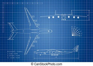 Outline drawing plane on a blue background. Top, side and front view
