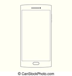 Outline drawing smartphone. Outline Dialogue Icon isolated on grey background. Line Chat symbol for your web site design, logo, app, UI. Editable stroke. Vector illustration. EPS10