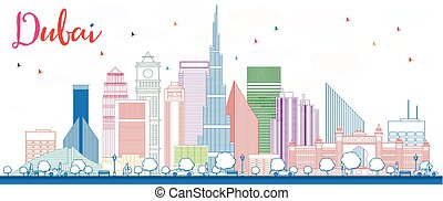 outline dubai skyline with color buildings