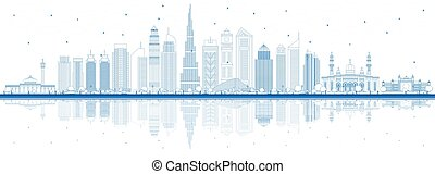 Outline Dubai UAE City Skyline with Blue Buildings and Reflections. Vector Illustration. Business Travel and Tourism Illustration with Modern Architecture. Dubai Cityscape with Landmarks.