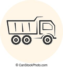 Outline dumper icon, dump track