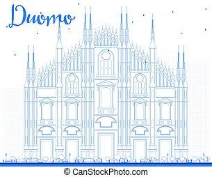 Outline Duomo in Blue Color. Milan. Italy. Vector...