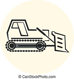 Outline earth mover icon, bulldozer icon