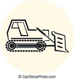 Outline earth mover icon, bulldozer icon