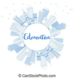 Outline Edmonton Skyline with Blue Buildings and Copy Space.