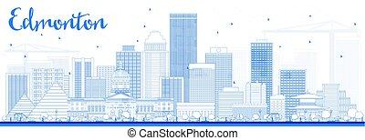 Outline Edmonton Skyline with Blue Buildings.