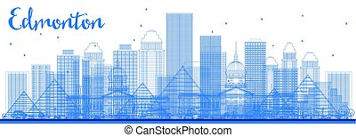 Outline Edmonton Skyline with Blue Buildings.
