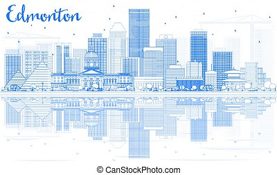 Outline Edmonton Skyline with Blue Buildings and Reflections.