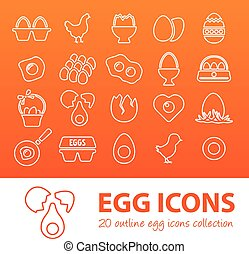 outline egg icons