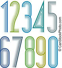 outline., elegante, brillante, números, rayado, geométrico