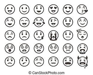 outline., emoticon, emoticons, ícones, engraçado, vetorial, caras, sorrizo, linha, emoji