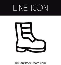 outline., essere, usato, scarpe, scarpe, stivali, isolato, stivali, elemento, vettore, disegno, lattina, concept., calzatura