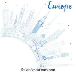 Outline Europe skyline silhouette with blue landmarks and copy space.