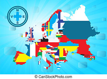 Outline European map with national
