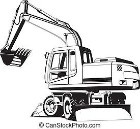 outline, excavator