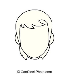 outline face man on white background
