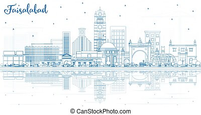 Outline Faisalabad Pakistan City Skyline with Blue Buildings and Reflections. Vector Illustration. Business Travel and Tourism Concept with Modern Architecture. Faisalabad Cityscape with Landmarks.