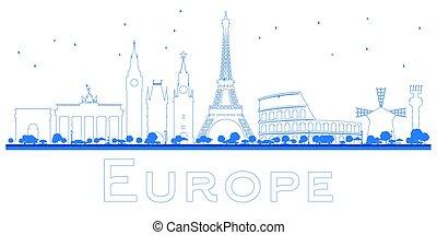 Outline Famous landmarks in Europe.