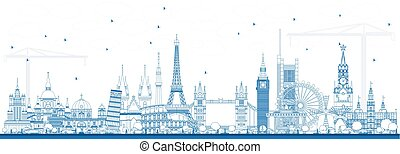 Outline Famous Landmarks in Europe. Vector Illustration.