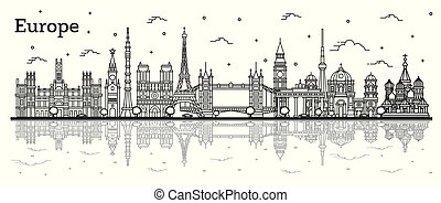 Outline Famous Landmarks in Europe with Reflections. Vector ...