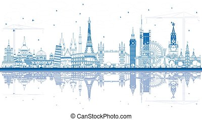 Outline Famous Landmarks in Europe with Reflections.
