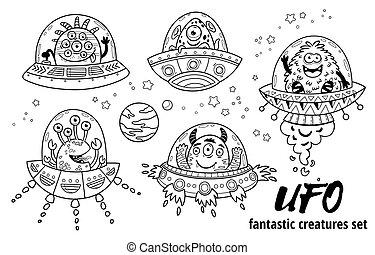 outline., fantastique, coloration, illustration., ufo., vecteur, ensemble, livre, créatures