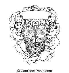 Outline festive sugar skull illustration with doodle patterns, roses and ribbon. The day of the Dead. Los Muertos. The object is separate from the background. Vector template