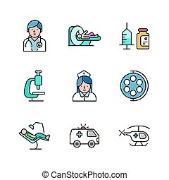 Outline filled hospital and medical icon vol 1