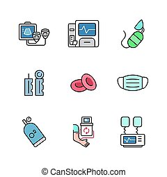 Outline hospital and medical icon design vol 3, with filled colors, can be used for web icons , app, printing etc.