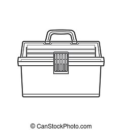 vector monochrome contour fishing tackle box transparency plastic top isolated black outline illustration on white background