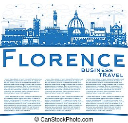 Outline Florence Italy City Skyline with Blue Buildings and...