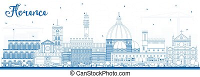 Outline Florence Italy City Skyline with Blue Buildings....
