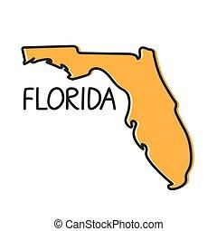 outline Florida map- vector illustration