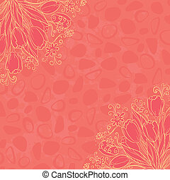 Outline flowers on abstract background